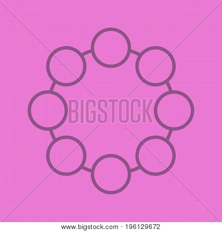Circle color linear icon. Community concept. Thin line outline symbols on color background. Vector illustration