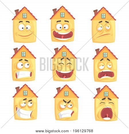 Funny cartoon humanized house with with many expressions set of vector Illustrations isolated on white background