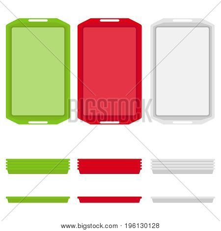 A tray for eating a set of trays for eating. Flat design vector illustration vector.