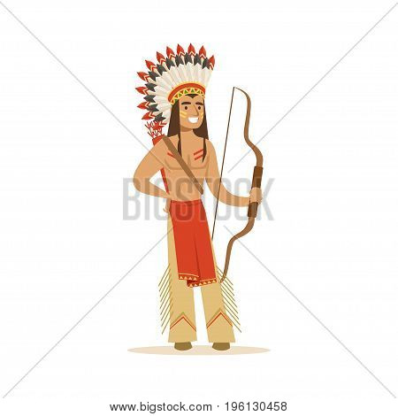 Native american indian in traditional indian clothing with a bow vector Illustration isolated on a white background