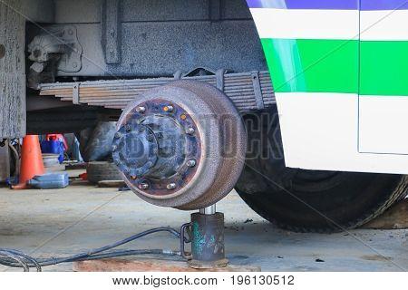 axle bus wheel repair in garage .