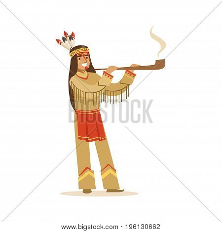 Native american indian in traditional indian clothing smoking pipe vector Illustration isolated on a white background
