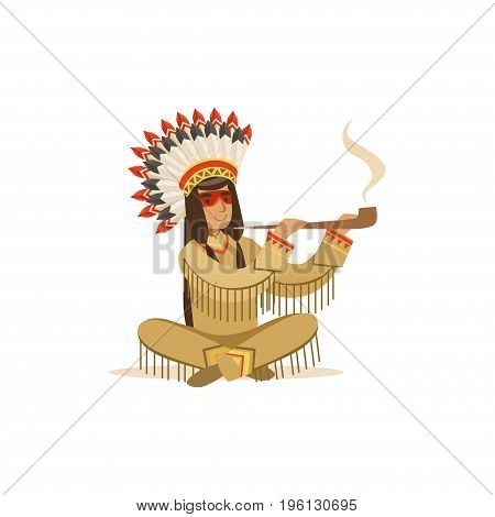 Native american indian in traditional indian clothing sitting in lotus position and smoking pipe vector Illustration isolated on a white background