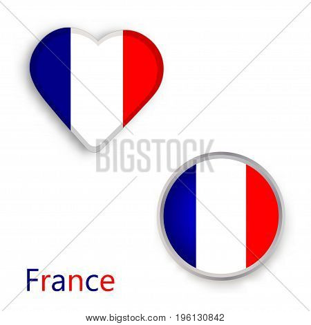 Heart and circle symbols with the flag of France. Vector illustration