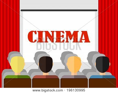 Retro cinema people watch a movie in the cinema. Flat design vector illustration vector.