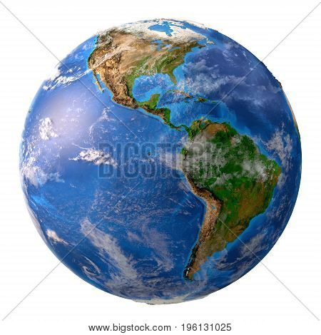 Planet earth. High detailed satellite view of the Earth and its landforms focused on the American continent isolated on white background. Elements of this image furnished by NASA - 3D illustration.