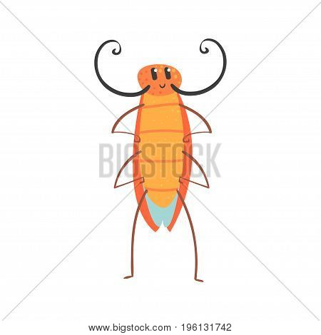 Cute cartoon funny cockroach character vector Illustration isolated on a white background