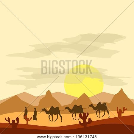 Caravan of camels in the desert Bedouins lead camels through the desert. Flat design vector illustration vector.