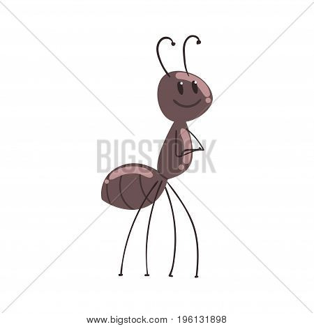 Cute cartoon ant character vector Illustration isolated on a white background