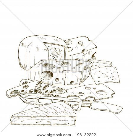 Pile of hand drawn cheese cheese knife. Vector hand drawn illustration.