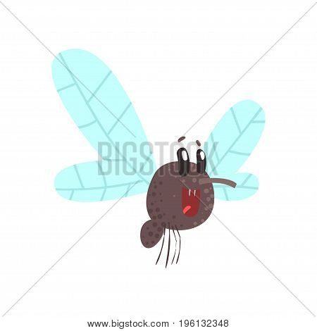 Cute cartoon midge character vector Illustration isolated on a white background