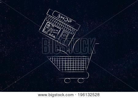 Shopping Cart With Entire Shop Being Thrown Inside