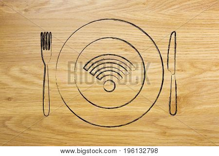 Wi-fi Logo On Plate With Knife And Fork, Free Connection
