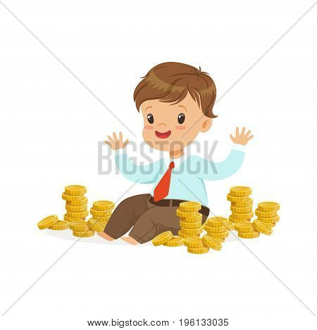 Cute little boy businessman sitting surrounded by stacks of gold coins, kids savings and finance, richness of childhood vector Illustration isolated on a white background