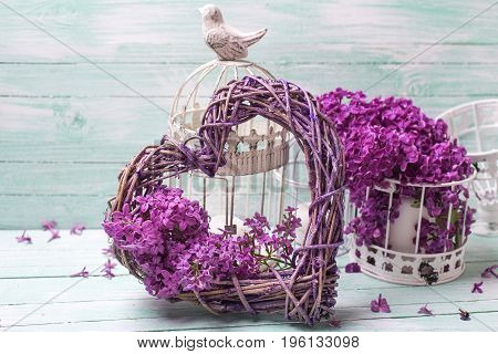 Flowers composision. Violet lilac flowers lanterns and heart on turquoise wooden background. Selective focus. Place for text.
