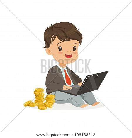 Cute boy businessman working on his laptop and earning money, kids savings and finance vector Illustration isolated on a white background