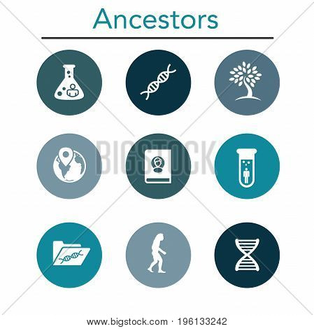 Ancestry or Genealogy Icon Set with Family Tree Album DNA beakers chemical family record etc