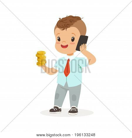 Cute boy businessman talking on smartphone and holding stack of gold coins in his hand, kids savings and finance, richness of childhood vector Illustration isolated on a white background