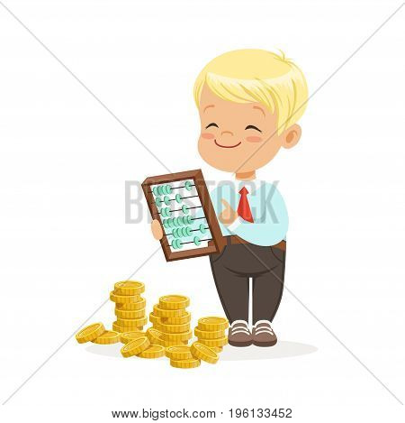 Happy lirrle boy businessman counting his money, kids financial business vector Illustration isolated on a white background