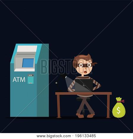 hacker working on laptop in the dark try to steal money from bank ATM vector