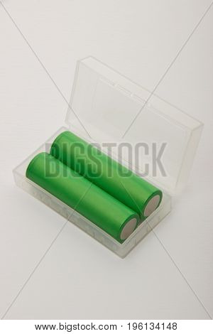 Batteries for electronic cigarettes green on a white background