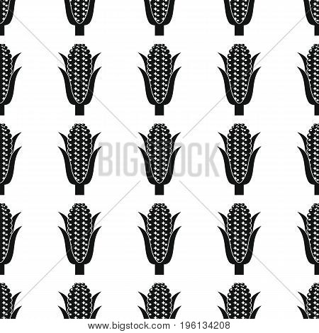 Corn black simple silhouette vector seamless pattern. Black vegetable stylish texture. Repeating corn vegetables seamless pattern background for vegetable design and web