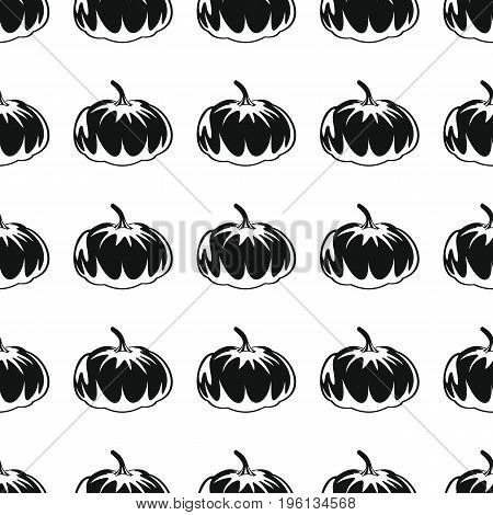 Pumpkin black simple silhouette vector seamless pattern. Black vegetable stylish texture. Repeating pumpkin vegetables seamless pattern background for vegetable design and web