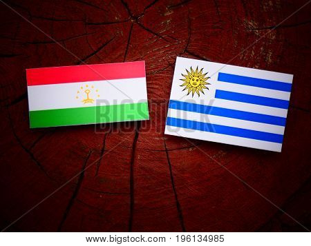 Tajikistan Flag With Uruguaian Flag On A Tree Stump Isolated