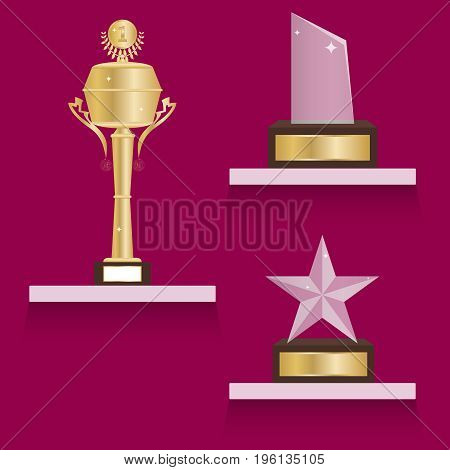 Sports cups on the shelf a set of sports cups. Flat design vector illustration vector.