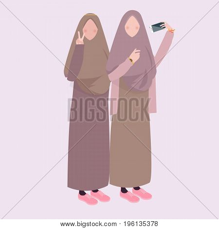 two girl take selfie together friends wearing veil head scarf vector
