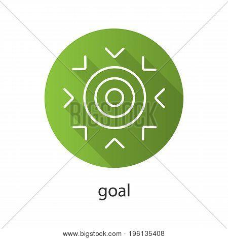 Goal flat linear long shadow icon. Purpose abstract metaphor. Vector outline symbol