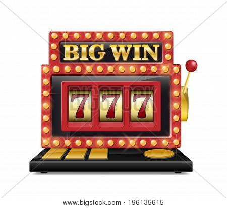Slot machine for casino, lucky seven in gambling game isolated on white. Jackpot slot big win casino machine. Vector illustration EPS 10