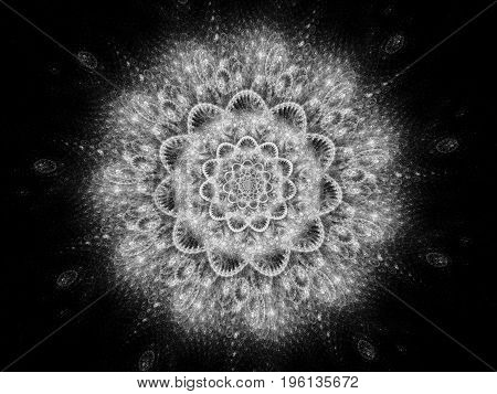 Glowing space mandala or snowflake abstract background hinduism black and white 3D rendering