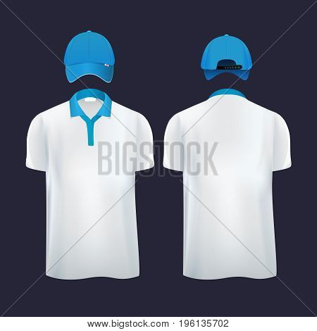 Baseball caps and casual t shirt polo in different sides. Vector illustration. Fashion cap and shirt for sport