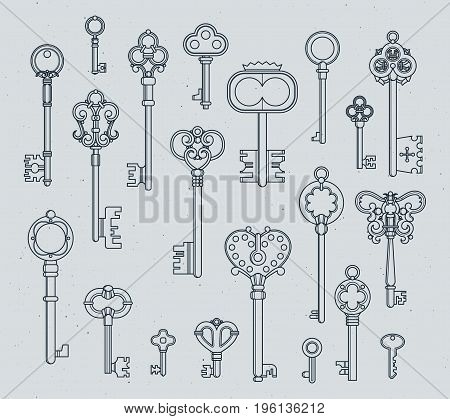 Antique keys set. Hand drawn medieval vector illustrations of old objects isolate on white. Collection of outline retro keys