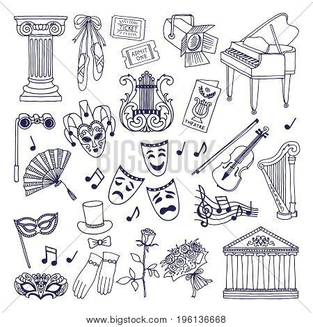 Theatre illustrations set. Opera and ballet vector symbols isolate on white. Ballet and opera theater, performance music in theatre