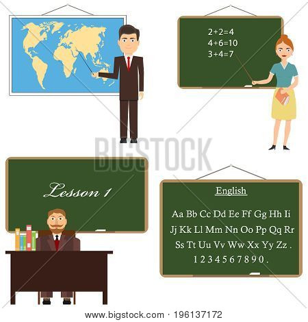 The teacher stands near the board with a pointer the teacher points at the map. Blackboard. Flat design vector illustration vector.