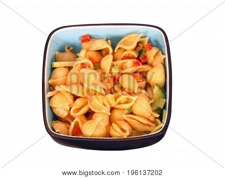 CONCHIGLIE OR PASTA SHELLS  WITH SALADS AND MAYONNAISE,  PASTA IS A STAPLE FOOD OF TRADITIONAL ITALIAN CUISINE