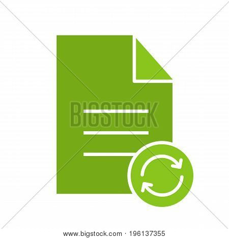 Refresh file glyph color icon. Document with cycling arrows. Silhouette symbol on white background. Negative space. Vector illustration