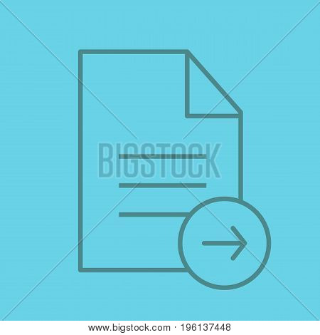 Send document color linear icon. Text file with right arrow. Thin line outline symbols on color background. Vector illustration