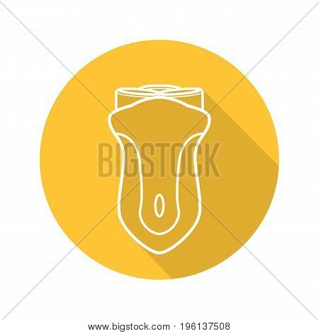 Electric shaver flat linear long shadow icon. Razor. Vector outline symbol