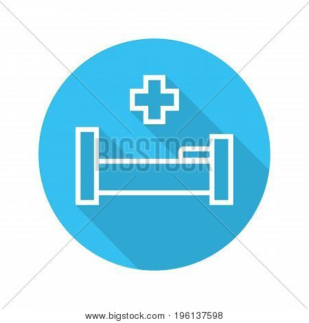 Hospital bed flat linear long shadow icon. Hospital bed with medical cross. Vector outline symbol