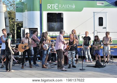 Galway Street Club Music Band Being Interview For Rte Radio While They Ar Playing An Live Radio Conc