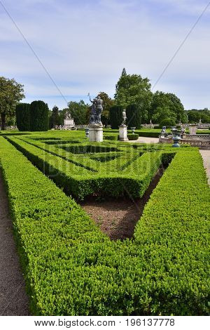 Queluz Portugal - June 3 2017: Neptune gardens masterpiece of the landscape design 18th century in the Queluz Royal Palace
