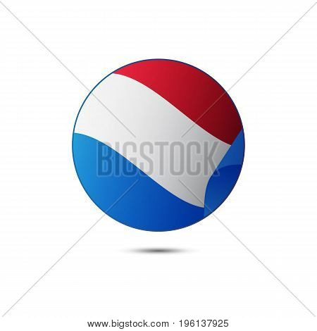Netherlands flag button on a white background. Vector illustration.