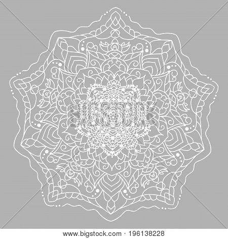 White vector mandala on grey background. Line pattern or flower ornament. floral design element. flower vector mandala
