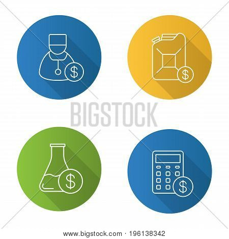 Services flat linear long shadow icons set. Petrol trade, research price, doctor service, financial planning. Vector outline illustration