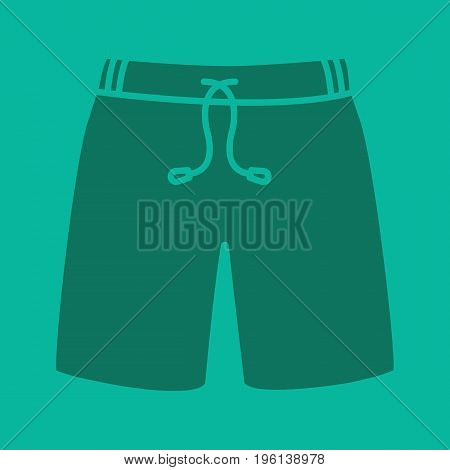 Swimming trunks glyph color icon. Silhouette symbol. Sport shorts. Negative space. Vector isolated illustration