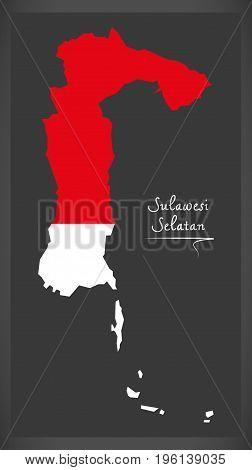 Sulawesi Selatan Indonesia Map With Indonesian National Flag Illustration