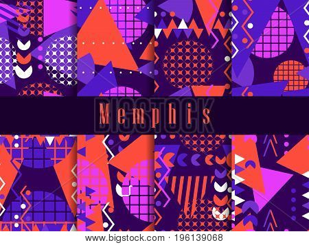 Memphis Seamless Pattern. Geometric Elements Memphis In The Style Of 80's. Vector Illustration
